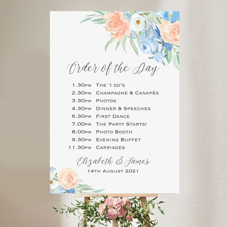 Peach Blue Floral Wedding Order Of The Day Sign Order Of The Day Wedding Wedding Order Floral Wedding