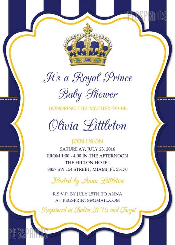 Royal Prince Baby Shower Invitations Little