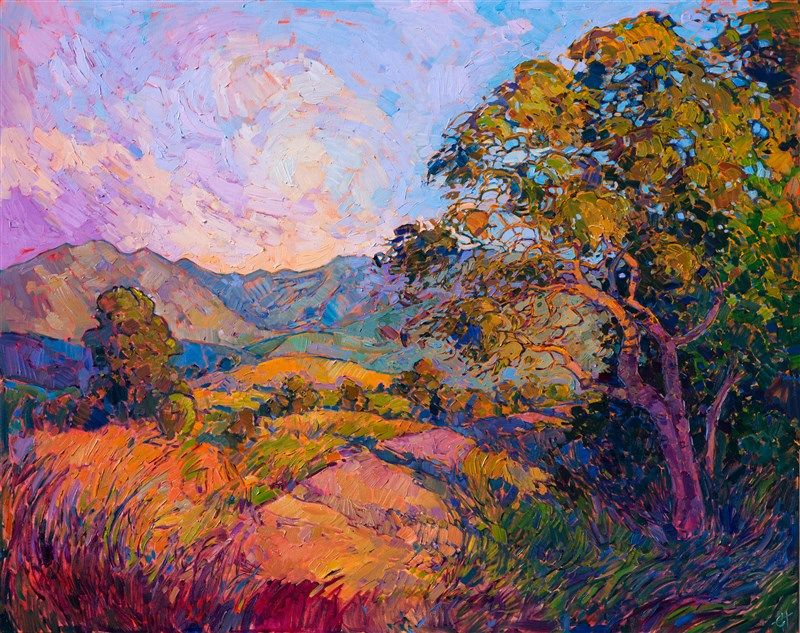 California Wine Country Landscape Oil Painting In Vivid Color And Thick Brush Strokes By Impressionist Erin Hanson Art Painting Oil Painting