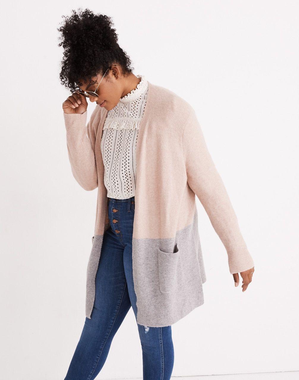 4f049f28131 Kent Colorblock Cardigan Sweater in Coziest Yarn in heather beige image 1