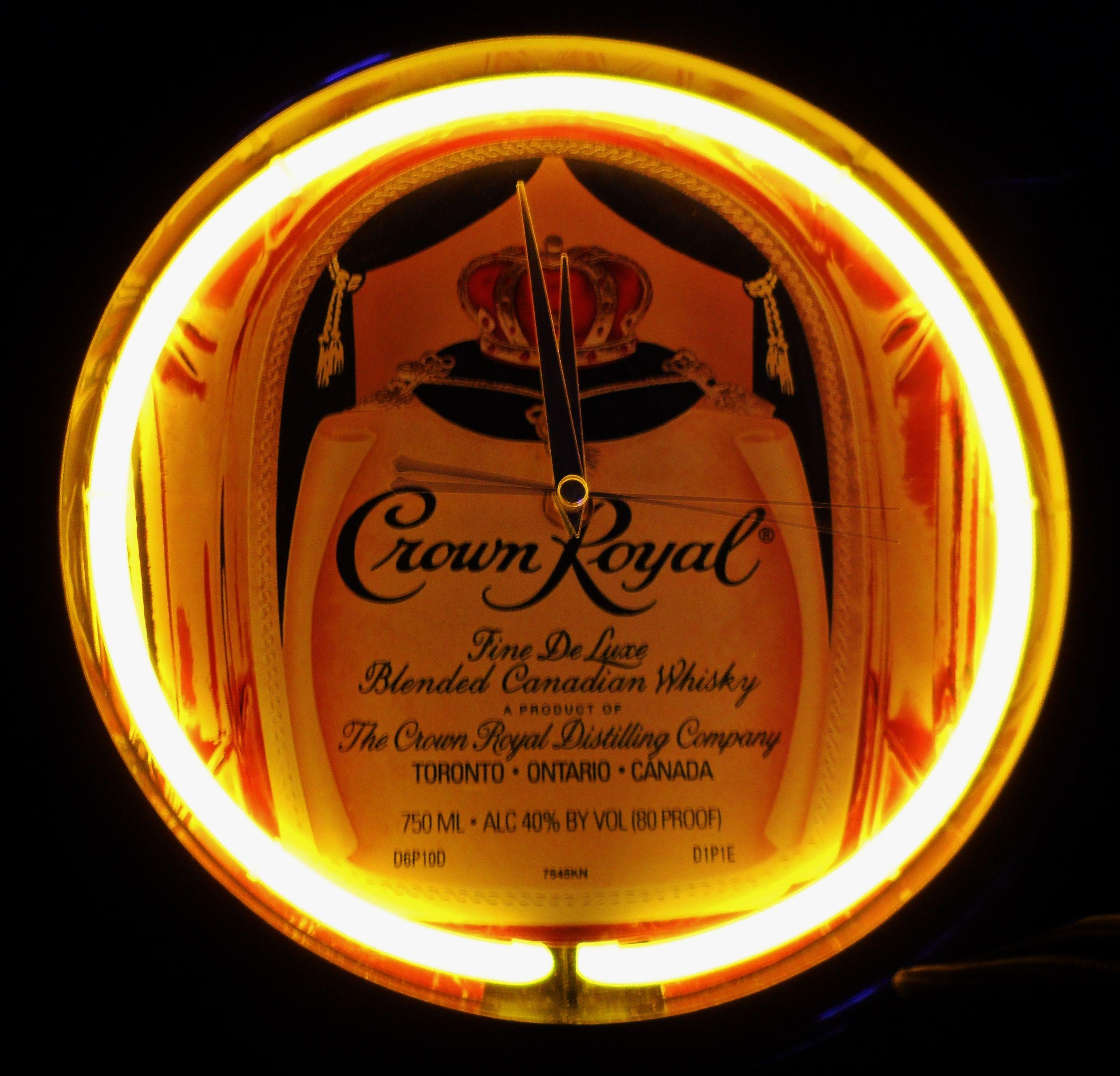 CROWN ROYAL Neon Clock Sign, circa 1987 | Neon bar signs