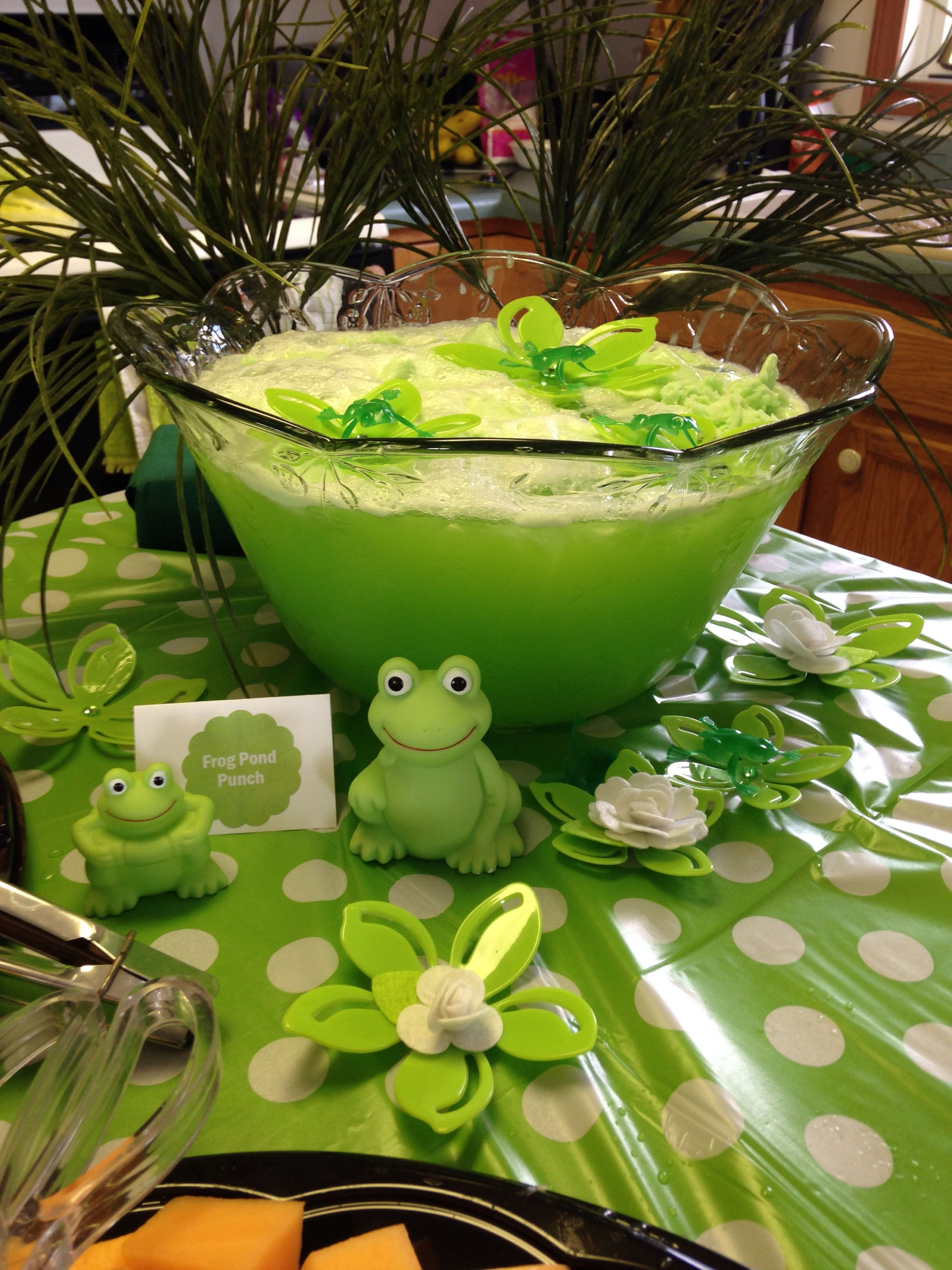 Frog pond punch used lime sherbet 7up and green juice for Pond decorations