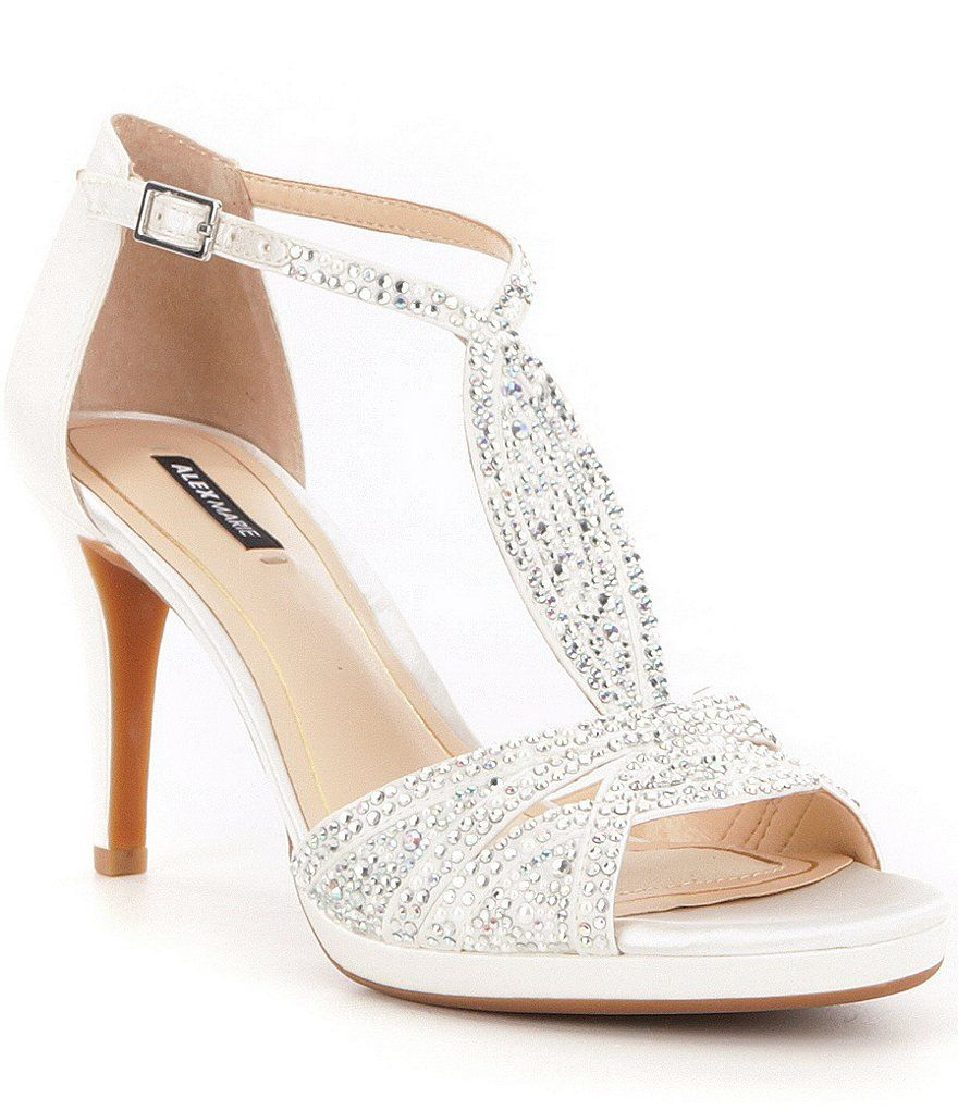 Alex Marie Seline Rhinestone Detail Metallic Leather Dress Sandals ...