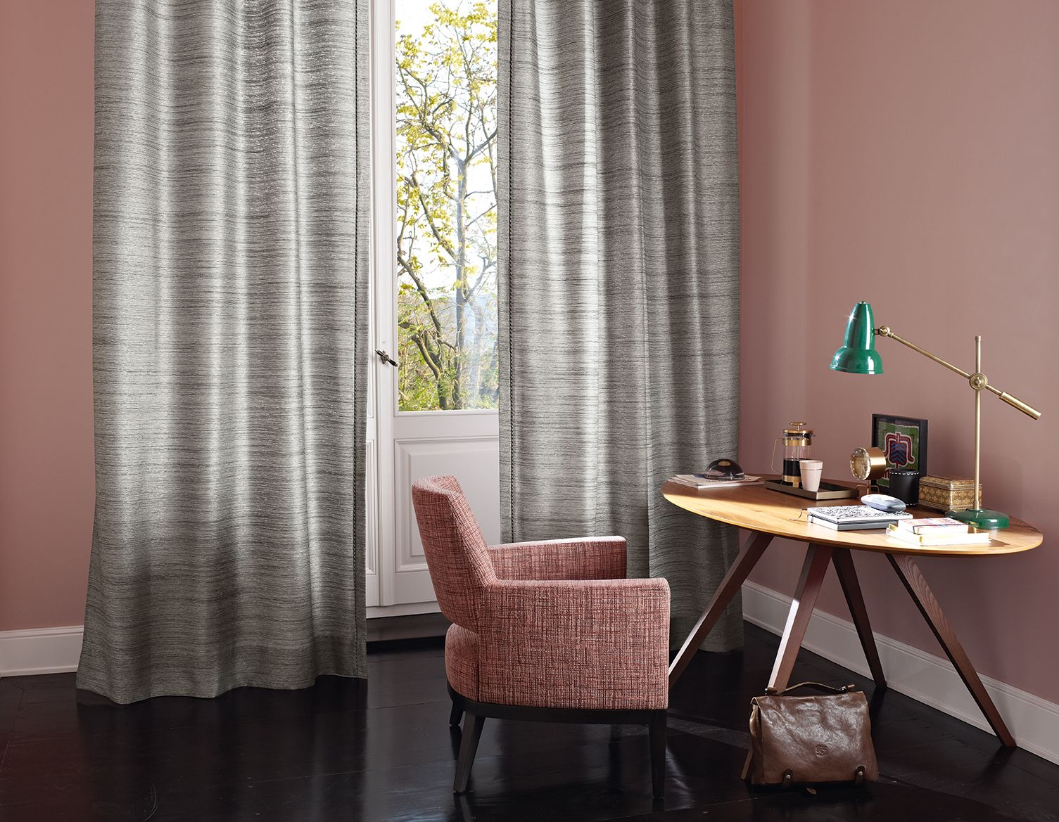 Office Work Place Desk Curtain Drapery Alanis Matte