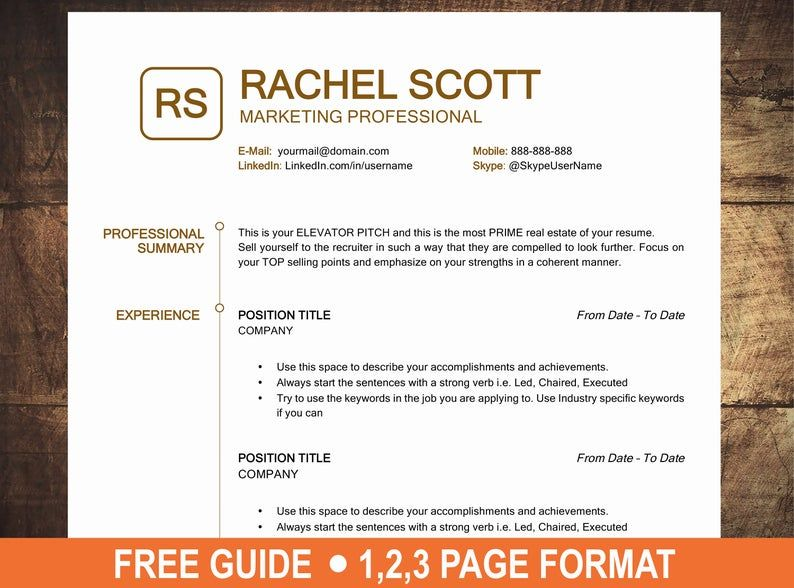 Resume Template Word CV Template Word I Professional