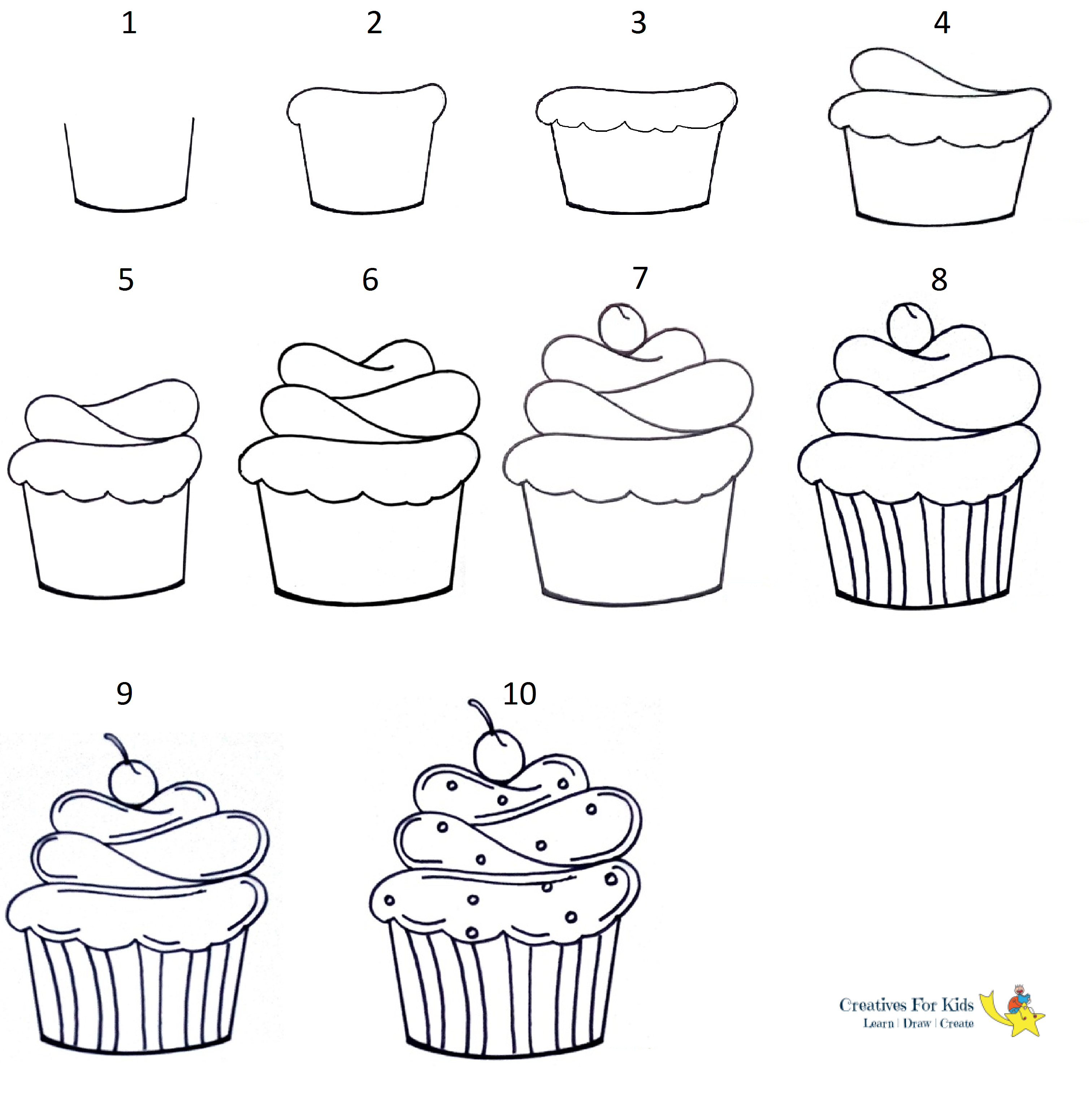 How To Draw A Cupcake Step By Step Tutorial Cupcake Cupcakes Art Drawing Cute Easy Drawings Cupcake Drawing