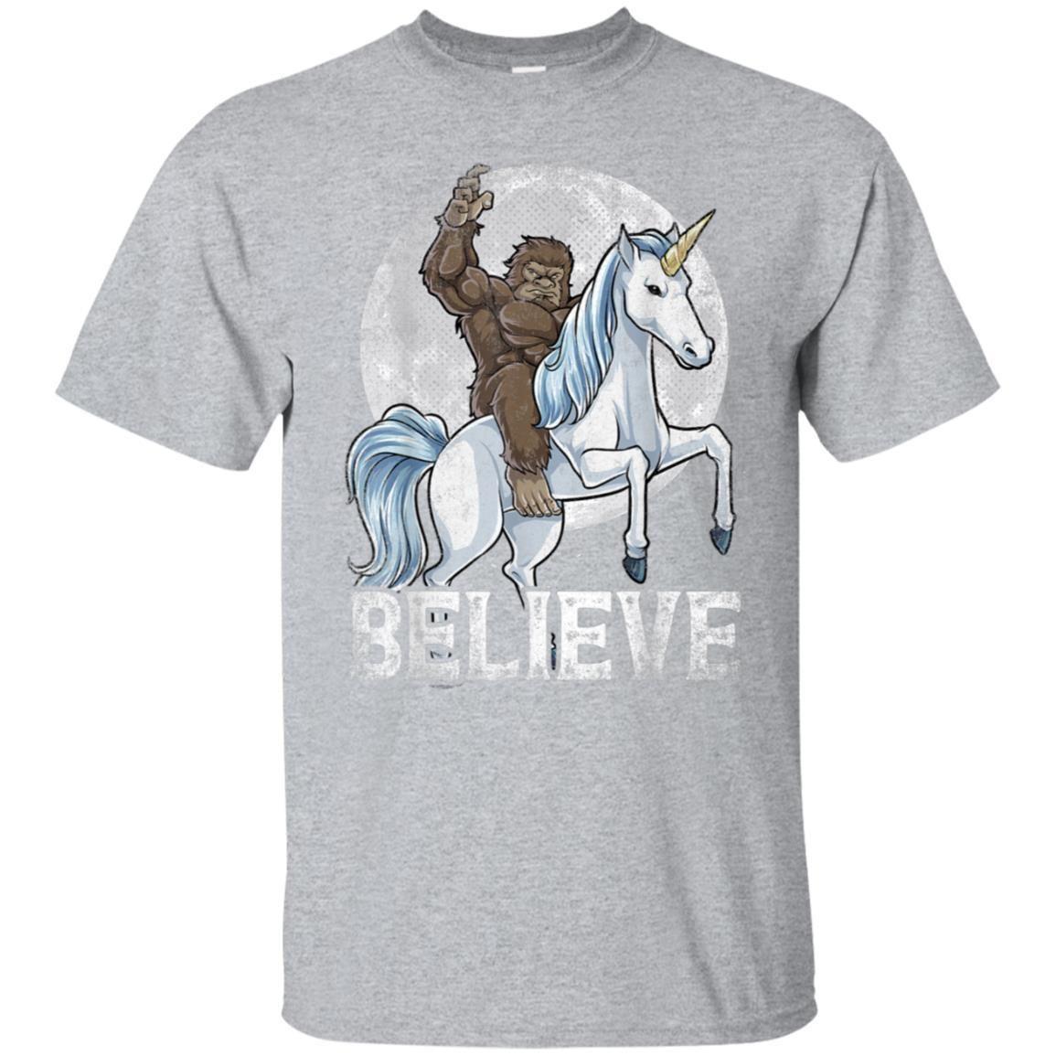 7a59abb1 99promocode Bigfoot Riding Unicorn T Shirt Funny Sasquatch Vintage Tees