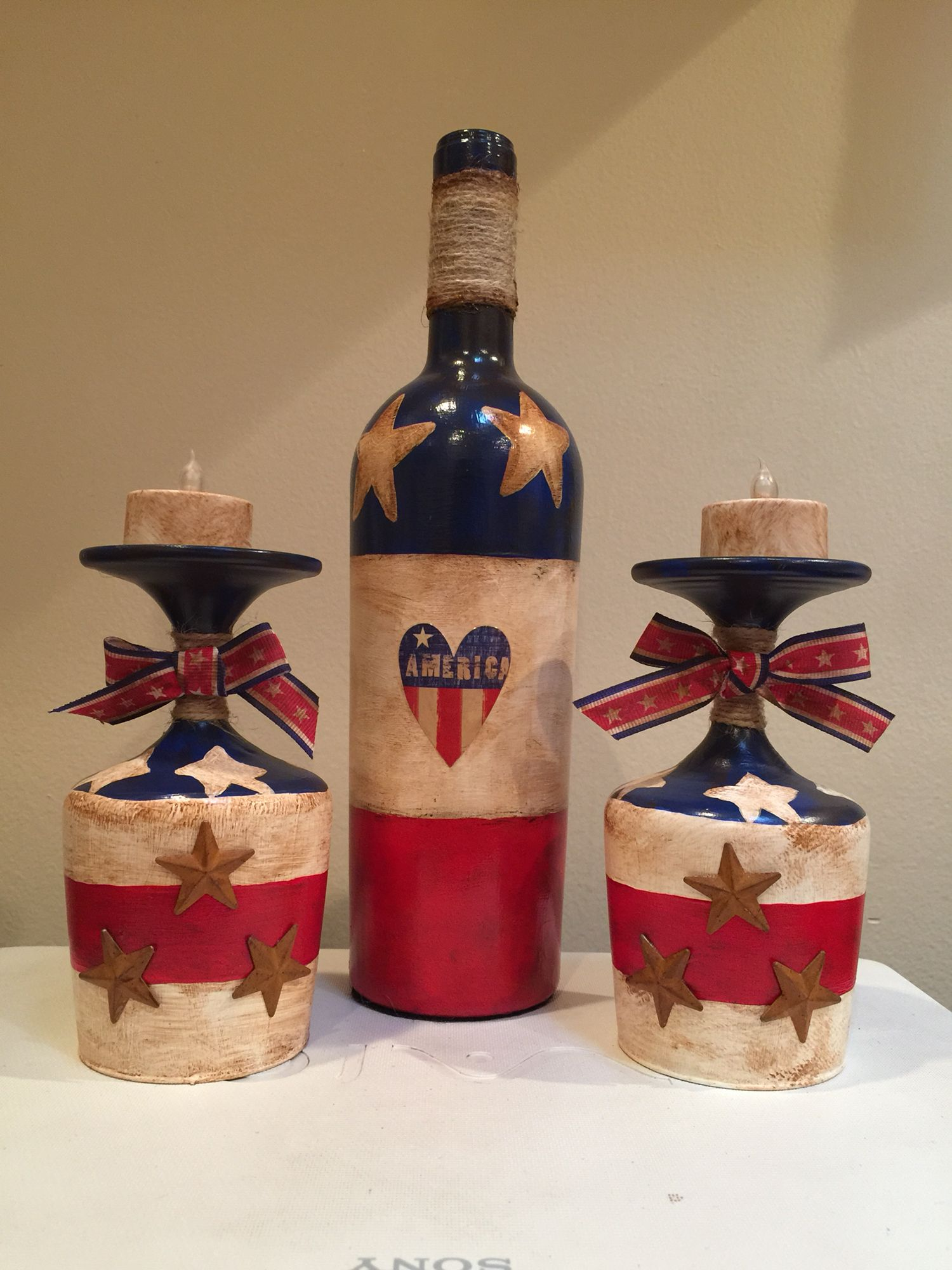Hand painted wine bottle and candle holders. 4th of July decorations