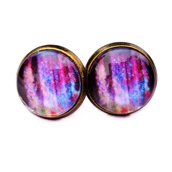Galaxy Waterfall Earrings Handmade earrings with galaxy waterfall images under glass domes. Bundle 3 pairs for $12, comment with your choices or create a bundle to get discount. ❤️. Customer photos shown for size comparison only. Handmade Jewelry Earrings