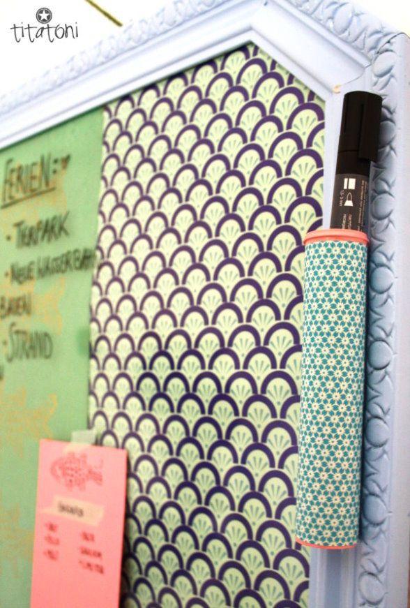 Whiteboard aus Bilderrahmen und Geschenkpapier, Stiftehalter aus ...