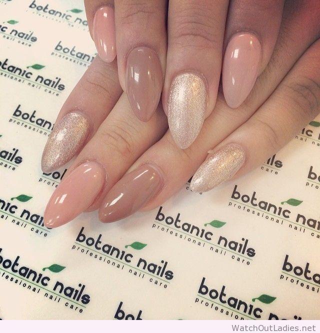 Botanic nails shape, nude, glitter | watchoutladies.net | Pinterest ...
