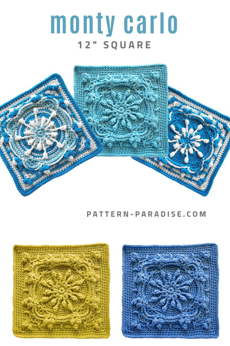 Patron de crochet gratuit: Monty Carlo Crochet Square | Paradis des motifs   – Feste Maschen sind keine Luftmaschen.