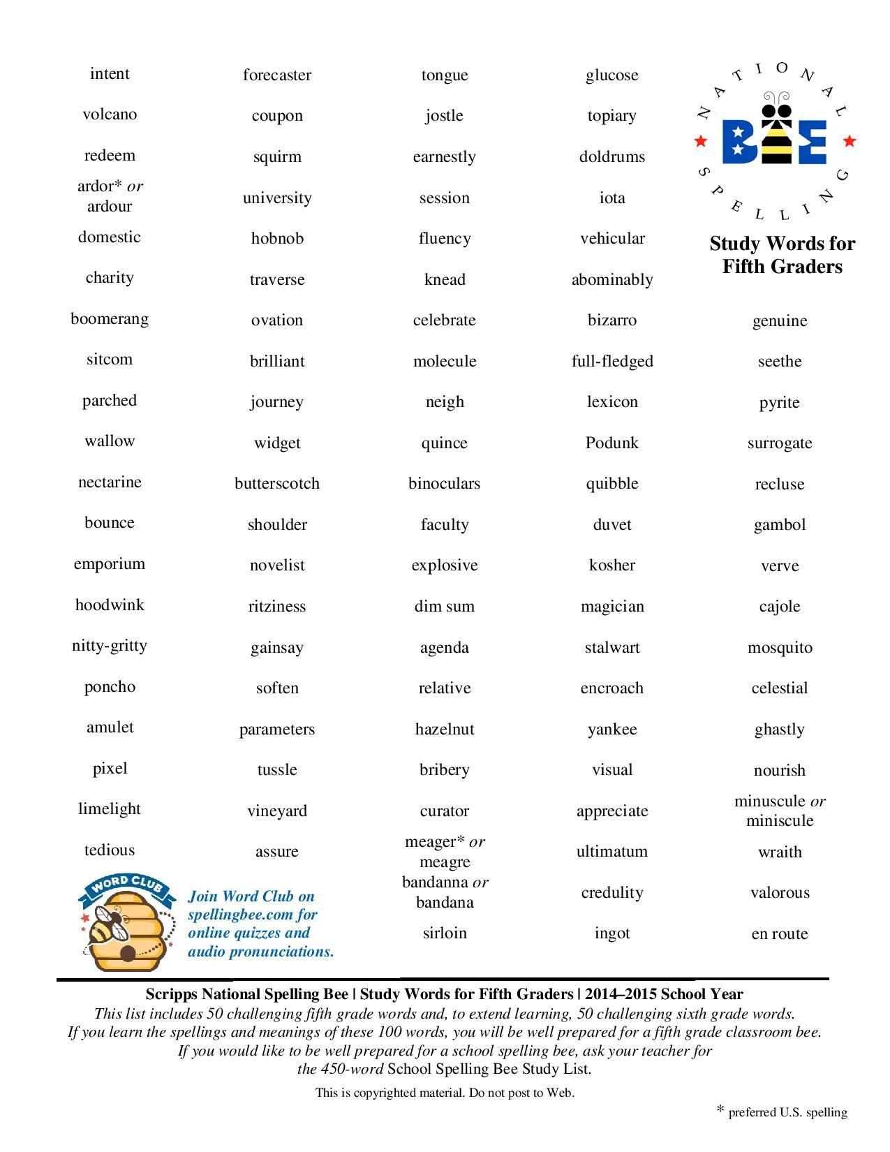 medium resolution of 5th grade spelling bee words   Grade spelling