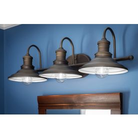 farmhouse bathroom lighting allen roth 3 light hainsbrook aged bronze bathroom 12819