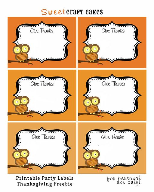 give thanks - owl themed printables