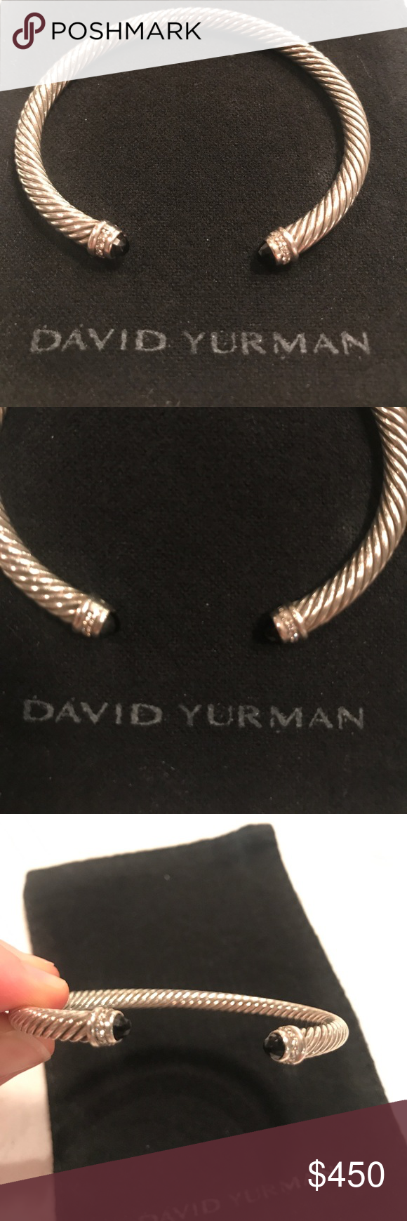 David Yurman 5mm Bracelet W Diamonds Black Onyx David