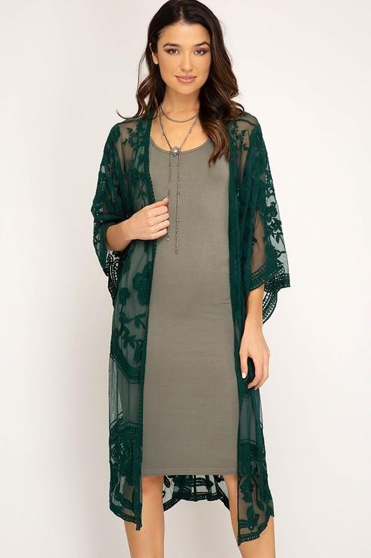 b5664a79fd Green Lace Kimono in 2019 | Lace | Lace kimono, Kimono cardigan ...