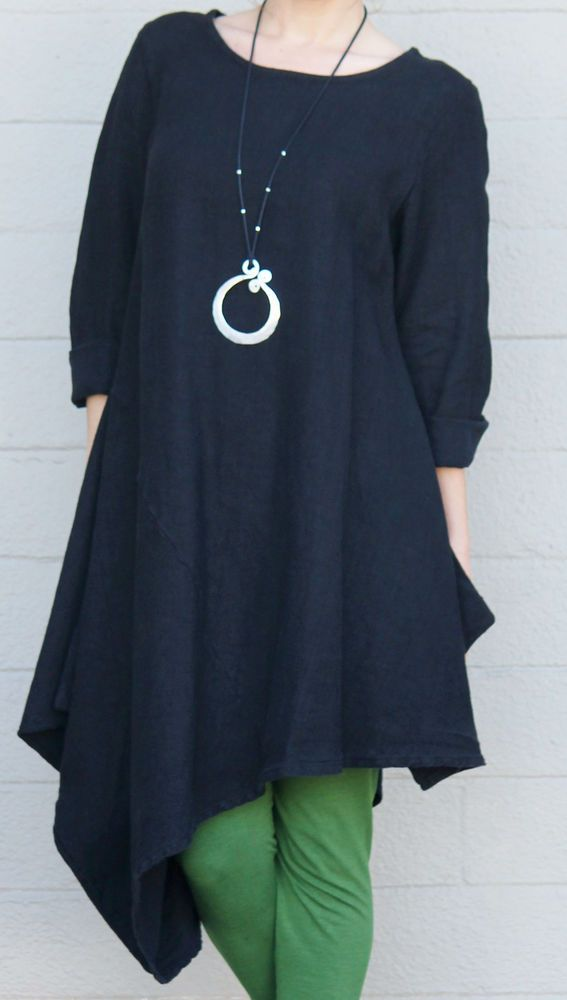 BRYN WALKER  Flax HEAVY-weight Linen  NADA TUNIC  Dress Top  XL  (XL/1X)  BLACK #BrynWalker #Tunic