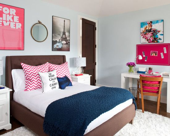 Modern Bedroom Ideas For Teenage Girls With White Desk With Wooden Chairs Brown Bed White Bedding
