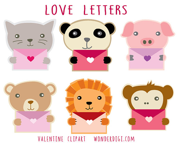 Valentine Clipart Cute Animals Clip Art Animal Characters