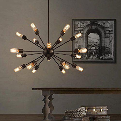 Industrial Chandelier Light 18 Lights Pendant Fixture Kitchen Dining Room Lighting