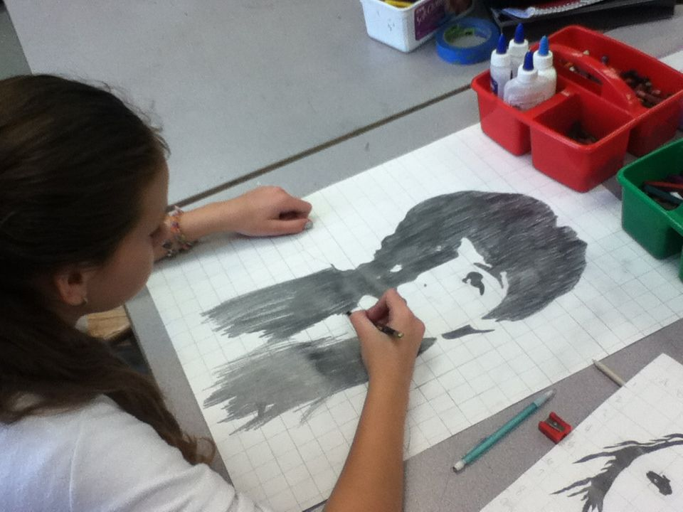 another one of my students working on a portrait. #McCartney #beatles   Lamar Louise Curry Middle  Art Appreciation: Art 2 working