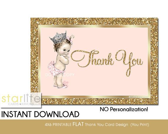 Printable Baby Girl Shower Thank You Card, Baby Princess Crown - printable thank you note