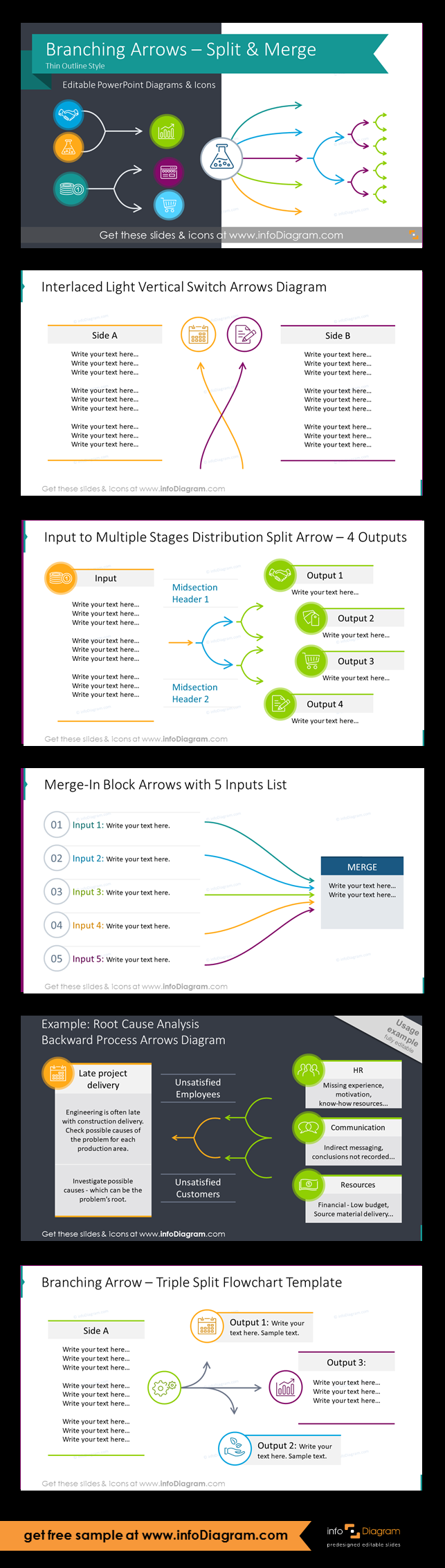 Thin Block Arrows Of Branching Processes Fork Mutliple Split Or Merge Powerpoint Flow Charts Outline Flow Chart Process Flow Flow Chart Template