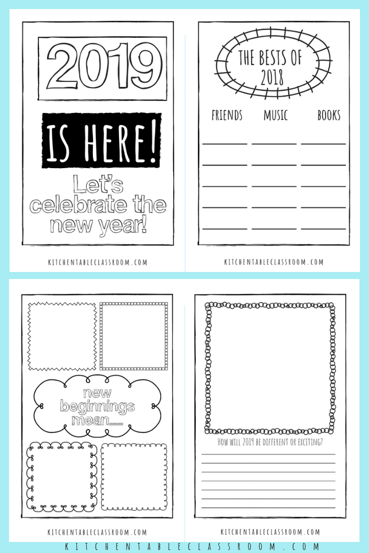 New Years' Coloring Pages Free Printable Journal for Kids