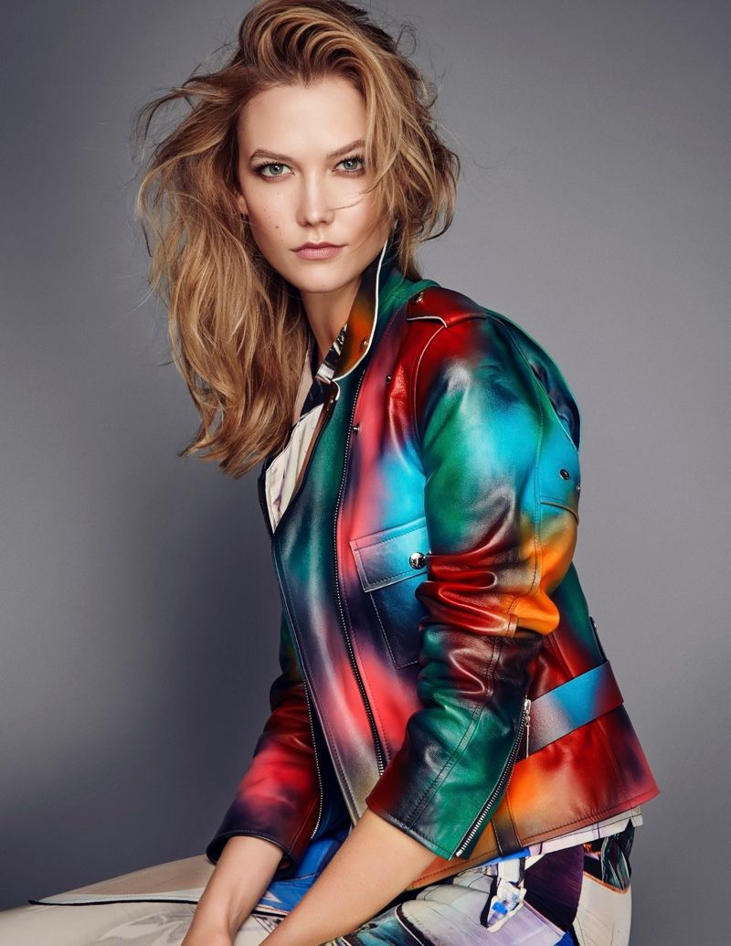 30120a8c020 Karlie Kloss models a multi-colored Louis Vuitton leather jacket for ELLE  UK Magazine March 2016 issue