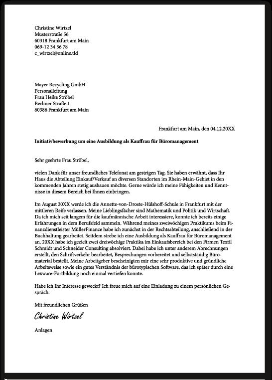 ᐅ Bewerbungsschreiben Kaufmann Frau Fur 15