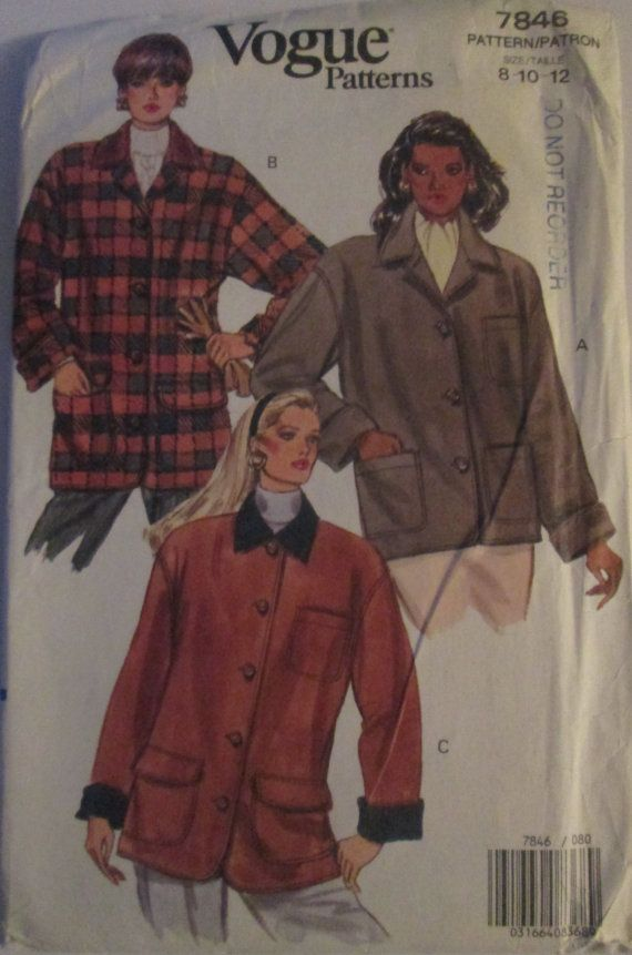 Vogue 7846 Womens 90s Plaid Jacket Pattern Bust 31 by Denisecraft, $6.99