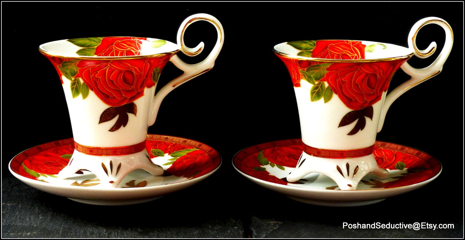 Impressive So French By Decor Du Galion Limoges Footed Cups And Saucers Exquisite Red Rose Floral Pattern Generously G Handmade Market Etsy Finds Red Roses