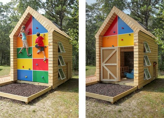 Fort friday playhouses climbing wall and architects for Boys outdoor playhouse