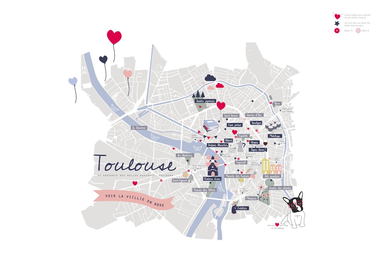 Affiche De Toulouse Illustree A Imprimer Affiche Toulouse Carte De Toulouse Et Toulouse