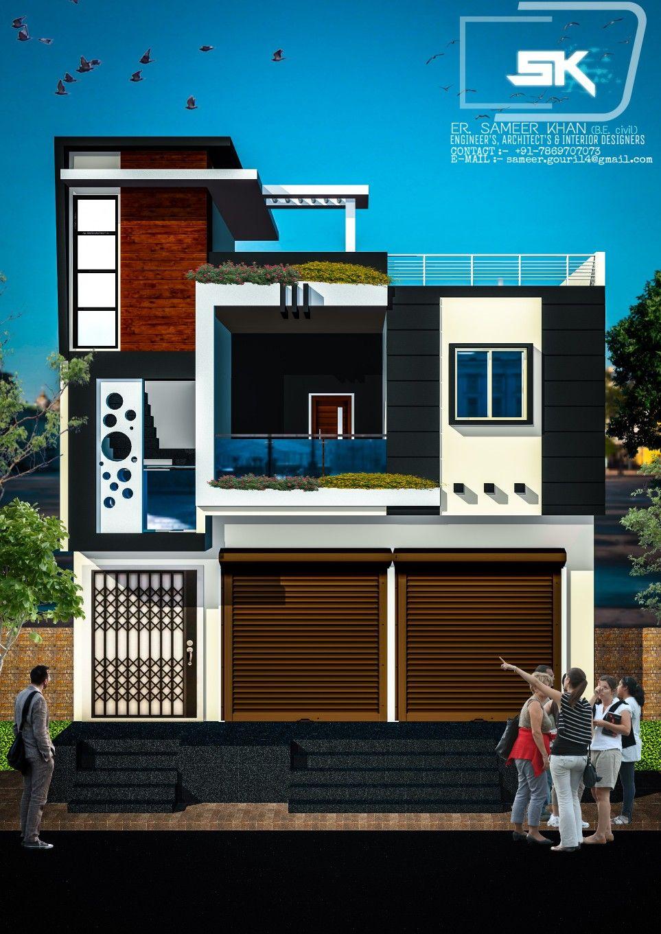 Modern House Trending Exterior Elevation With Shop By Er Sameer Khan Modern House Exterior Modern House House Designs Exterior