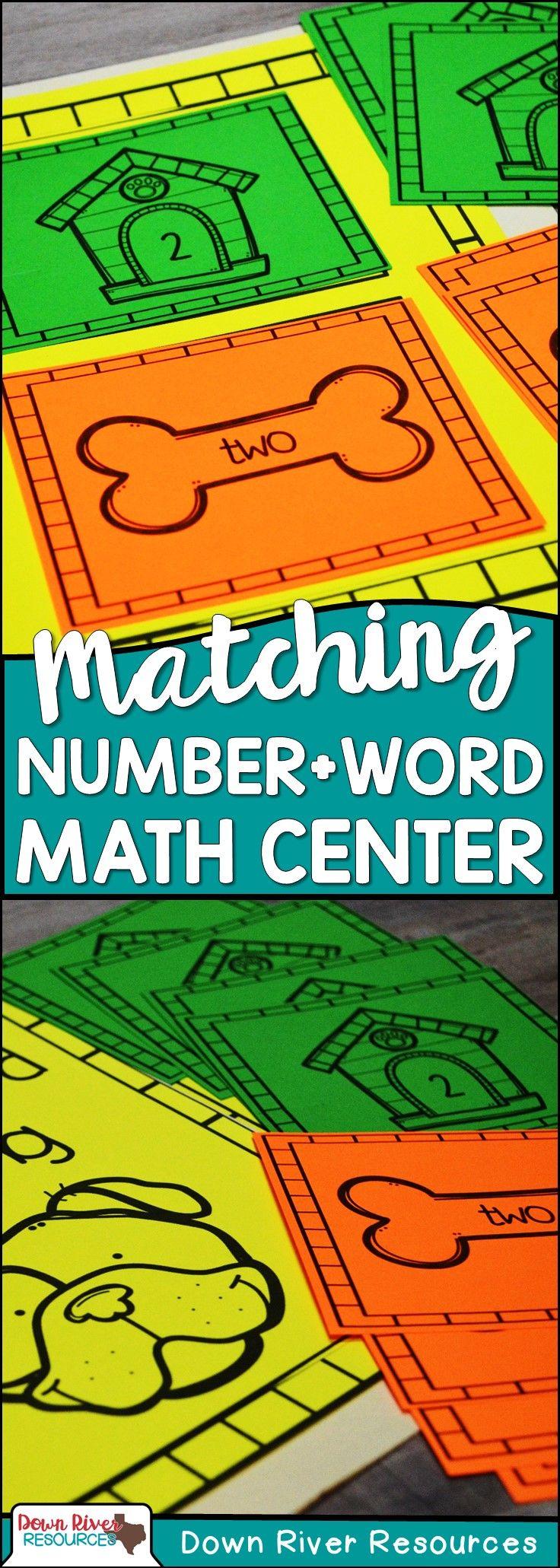 Number Word Matching Math Center for Kindergarten & First Grade ...