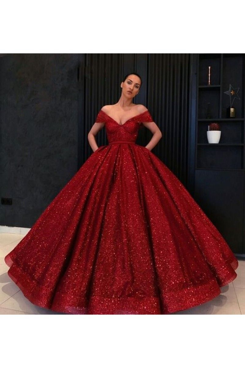 f5b21f4c8e6 Ball Gown Off the Shoulder Neckline Wine Red Burgundy Floor-Length Sequin  Quinceanera Dress Sweet 16 Dresses for Girls N10461