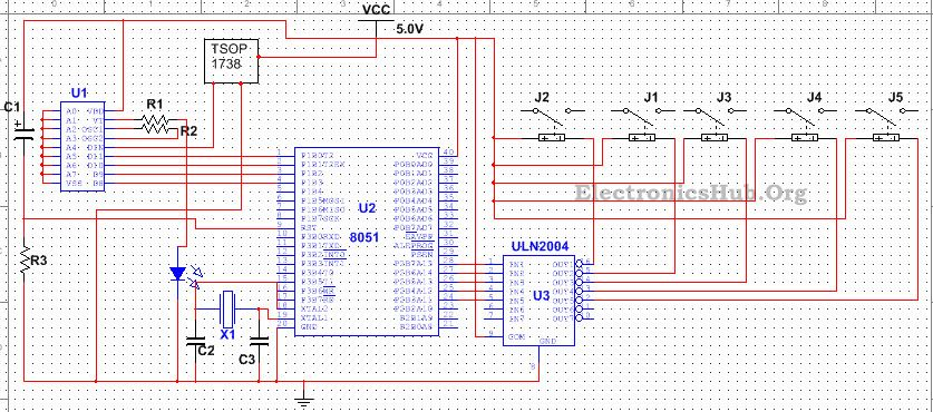5 Channel IR Remote Control Circuit using Microcontroller