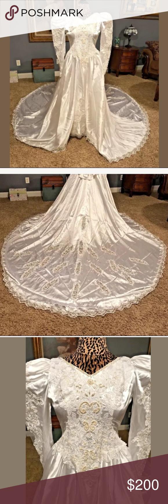 White puffy wedding dresses  Vintage White Wedding Gown Puffy Sleeves Train  Pinterest