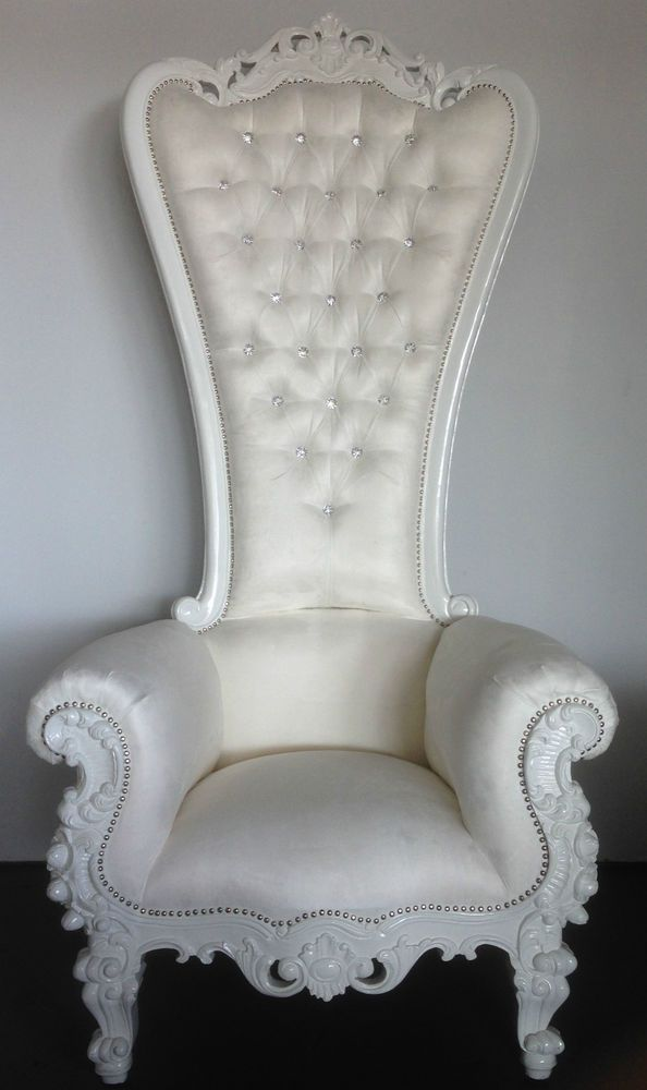White Alice In Wonderland King Chair High Back Gothic