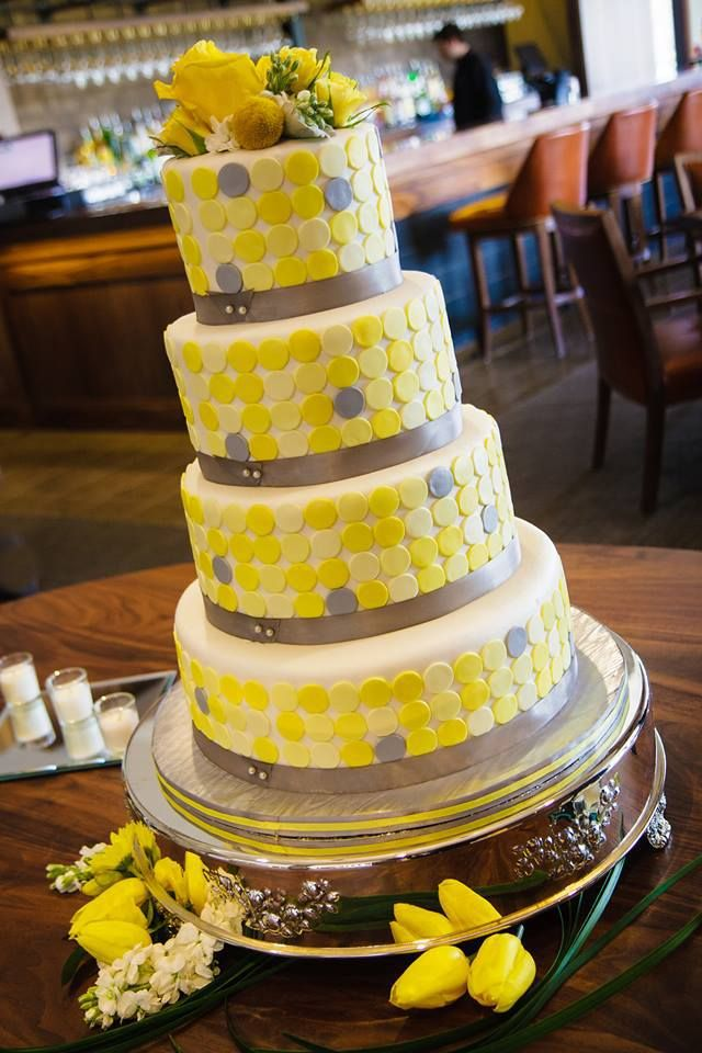 Buttercream wedding cake with yellow and grey accent dots. | Kansas ...