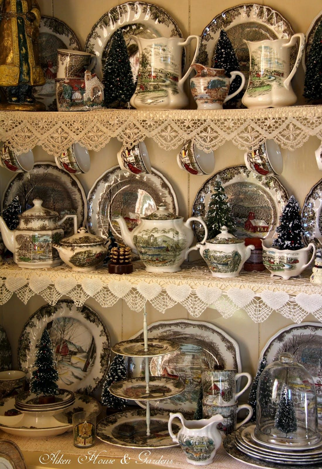 Friendly Village Dish display, Christmas china