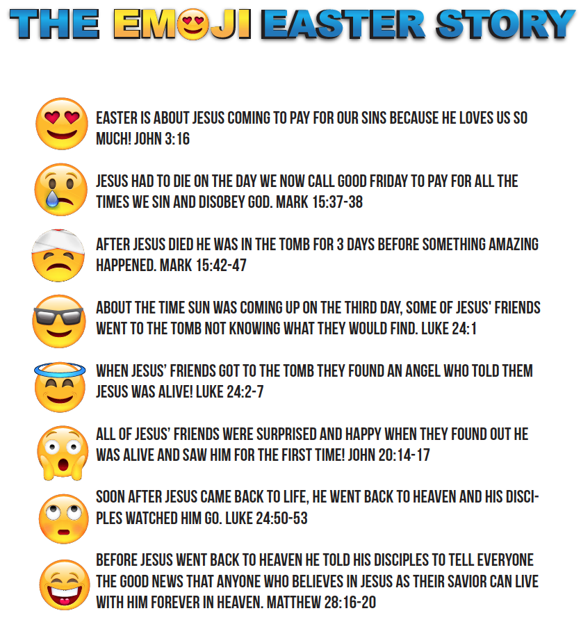 The emoji easter story for kids free easter childrens ministry use emojis to tell kids the story of easter print this free emoji easter story for all the kids in your childrens ministry or sunday school negle Image collections