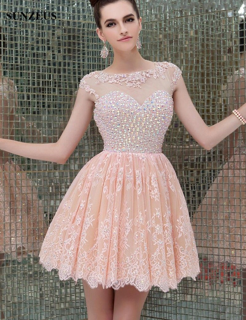 Cap Sleeve A-Line Lace Homecoming Dresses Dazzling Beaded Appliques ...