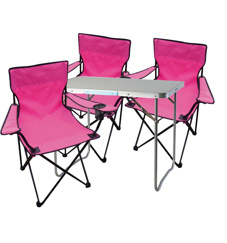 4 Tlg Pink Campingmobel Set Tisch Mit Tragegriff Und