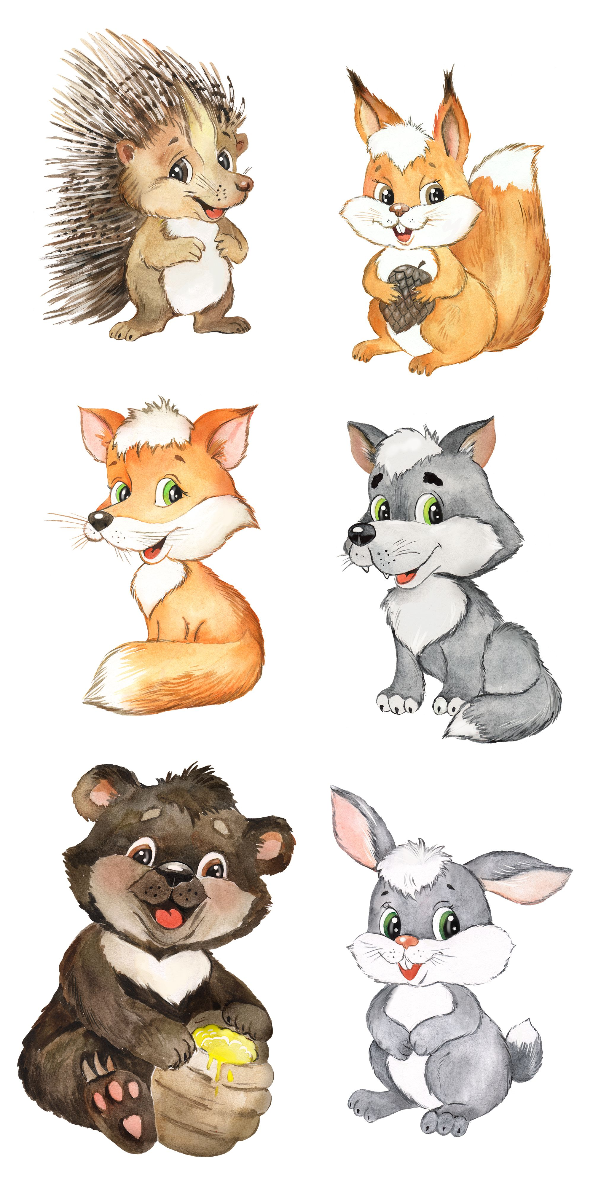 Forest Animals Watercolor Clipart Forest Woodland Animals Kids Clipart Nursery Decor Nursery Clipart Baby Animal Prints Baby Animal Drawings Animal Nursery