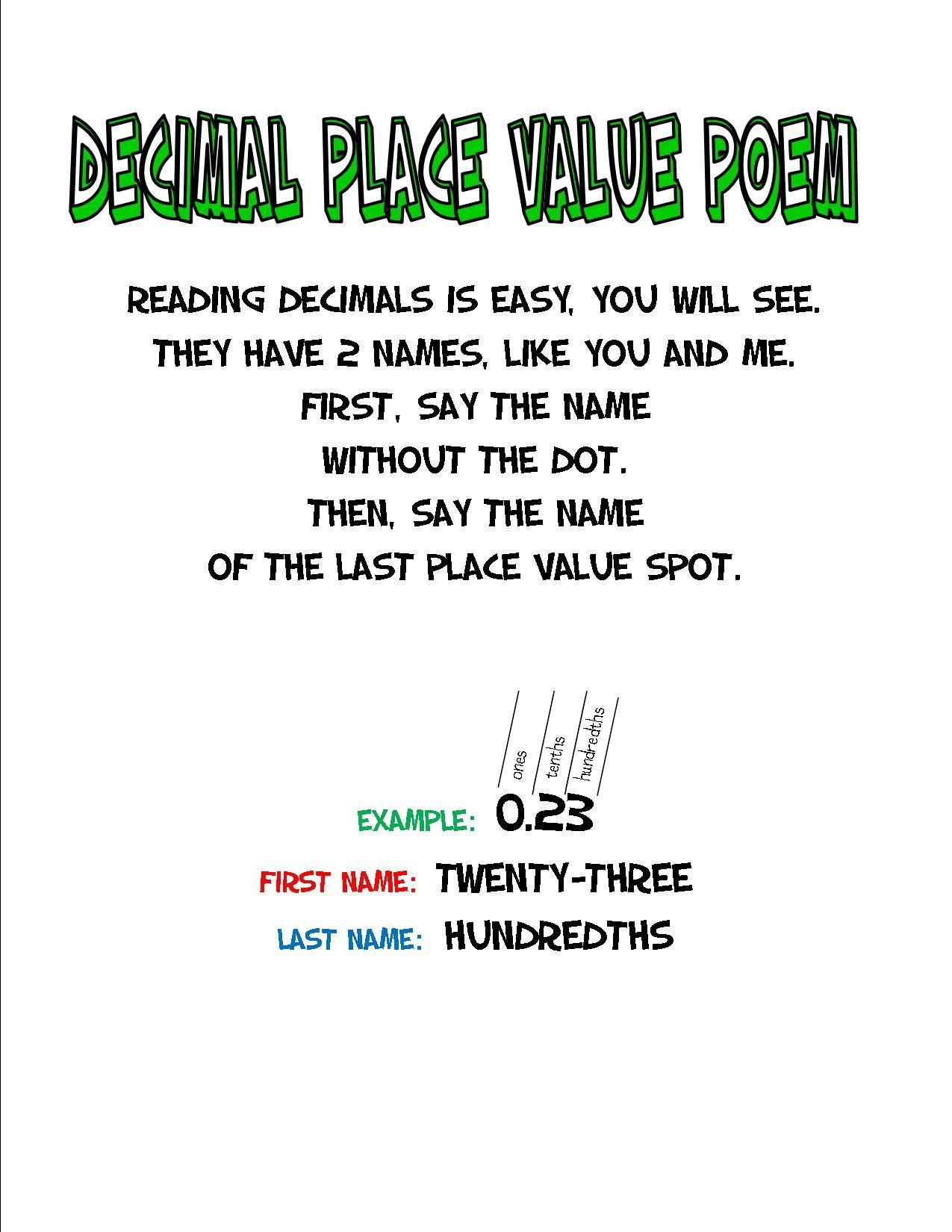 Decimal Place Value Poem