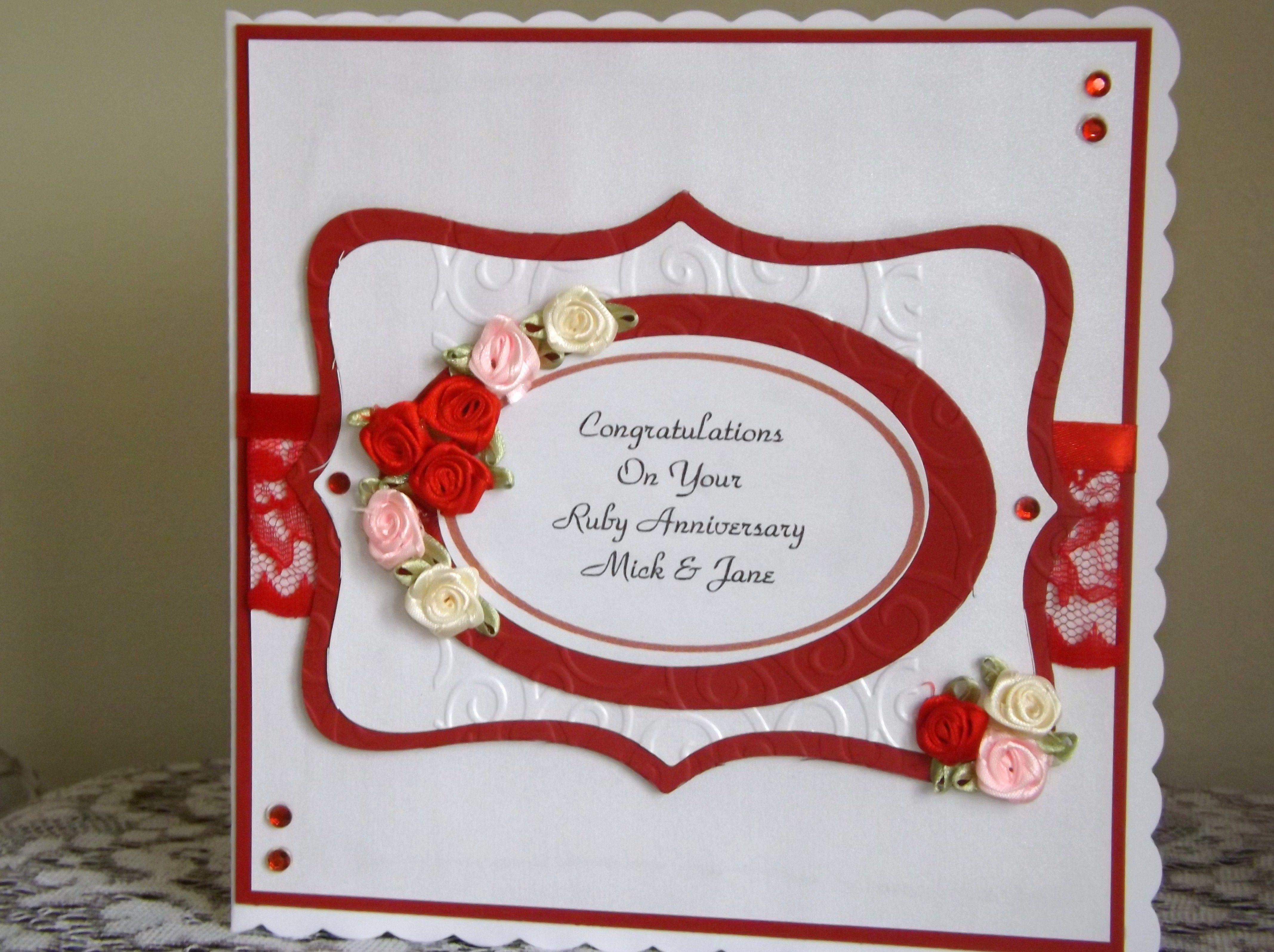 Ruby Anniversary 40th Birthday Cards Wedding Anniversary