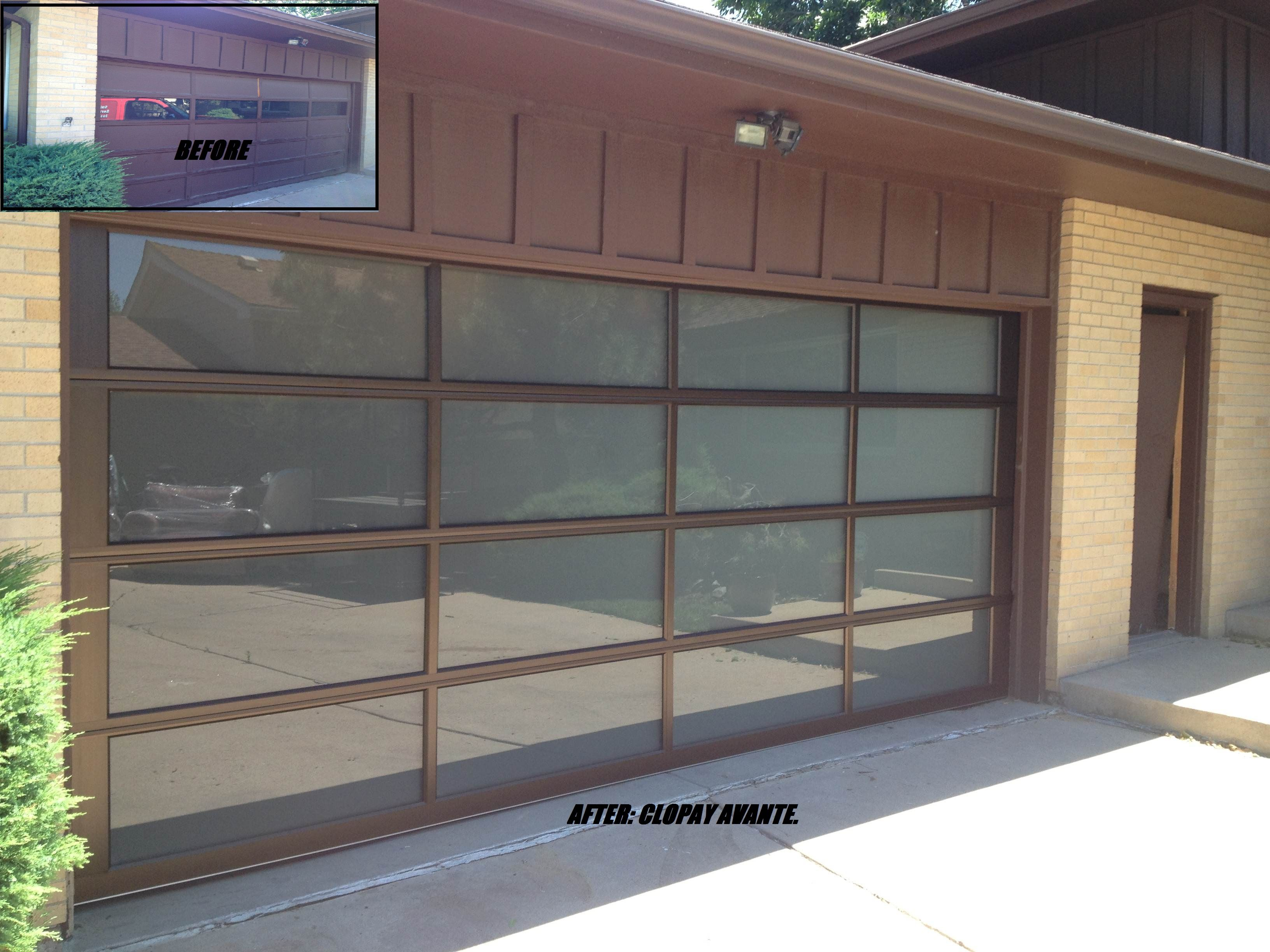 The Clopay Avante Collection Contemporary Gl Garage Door With Bronze Aluminum Frame And Opaque Panels Www Clopaydoor
